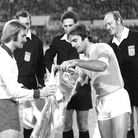 Ipswich Town captain Mick Mills, left, before the game with Lazio in 1974. Picture: ARCHANT