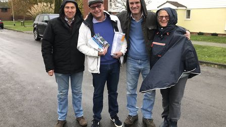 Tory wets including candidate James Cartlidge out campaigning in the rain on Thursday. Picture: SOUT