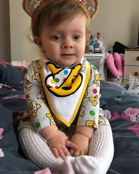 Lucie-Rose, aged 10 months in her Children in Need clothes. Picture: KAYLEIGH MIMMS
