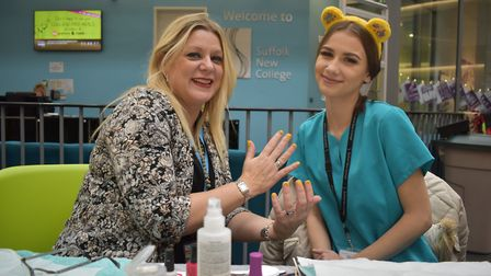 Beauty students at Suffolk New College painted nails with a Pudsey theme Picture: JOHN NICE