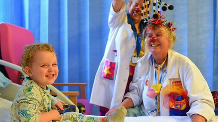 Clown doctors visited patients at East Anglia Children's Hospices and Ipswich Hospital this week to