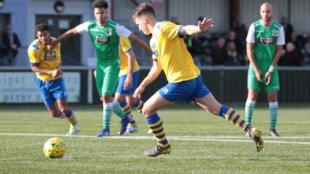 Callum Harrison, who scored the winner for AFC Sudbury at Heybridge Swifts tonight. Picture: CLIVE P
