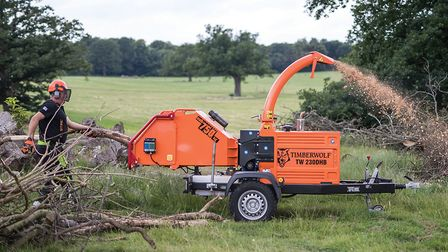 A Timberwolf TW 230DHB road tow wood chipper in action Picture: JOSEPHE JOHN CASEY/TIMBERWOLF