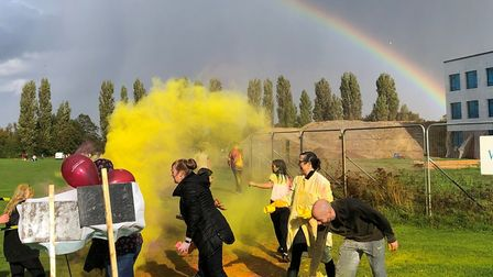 The rainbow arcs over the Stowmarket High School colour run in memory of Lottie Shields-Bayliss Pic