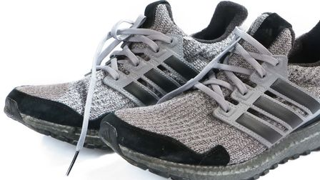A pair of Ed Sheeran's trainers which will be up for sale at the Bishop and Miller auction. Picture: