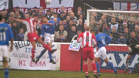 Ipswich Town fans pictured behind the goal during the Blues 4-1 win at Dagenham & Redbridge in Janua