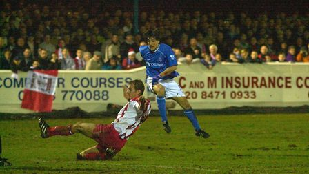 Sixto Peralta rifles home Ipswich Town's third goal, at Victoria Road. Picture: PAGEPIX