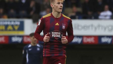 Flynn Downes pictured during Ipswich Town's 3-1 win at Southend United. Photo: ROSS HALLS