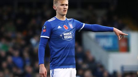 Flynn Downes played in Ipswich Town's 1-1 draw with Lincoln City in the FA Cup first round. Photo: R