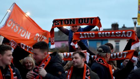 Blackpool fans protested for a prolonged spell against former owner Owen Oyston. Photo: PA