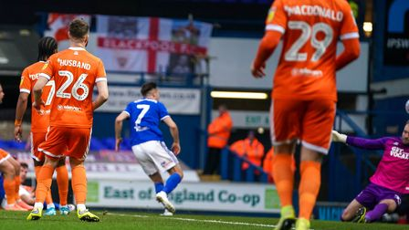 Gwion Edwards beats Blackpool keeper Jak Alnwick for an early goal for Town.Picture: Steve Walle