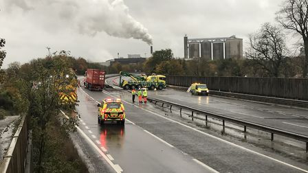 A lorry smashed through the central reservation on the A14 at Bury St Edmunds. Picture: ARCHANT
