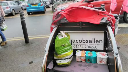 Donations for the Bury foodbank being collected at Waitrose Picture: BURY RICKSHAW