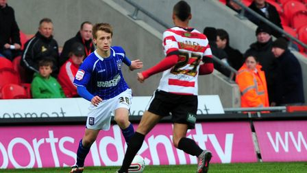 Byron Lawrence, pictured during his Ipswich Town debut at Doncaster in April 2012. Picture: ARCHANT