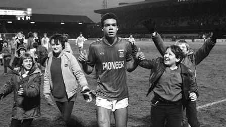 Celebratios after the game as Jason Dozzell scored on his Ipswich Town debut to become the youngest