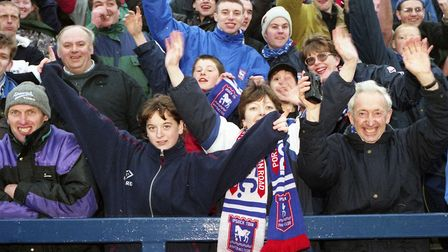 Town fans cheering on their side to a 1-0 victory at Stockport County in March, 1998. Town have nver