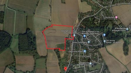 The site where Gladman wants to build 150 homes in Brantham. Picture: GOOGLE MAPS