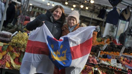 Sarah and Mary Pollard celebrating St Edmund's Day in Bury town centre Picture: SARAH LUCY BROWN