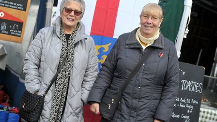 Sandra Harrison and Linda Knapp celebrating St Edmund's Day in Bury town centre Picture: SARAH LUCY