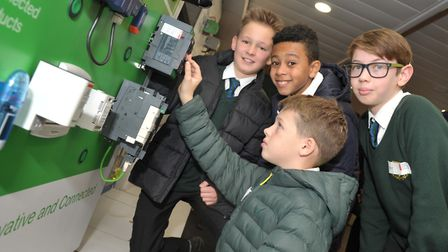 Children from St Benedicts got to try out the latest in technology on the Titan II innovation truck