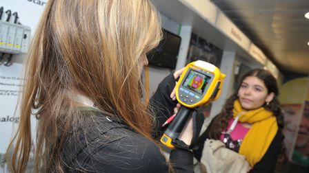 Analis McKee and Hannah Bradbury try out the thermal imaging Picture: SARAH LUCY BROWN