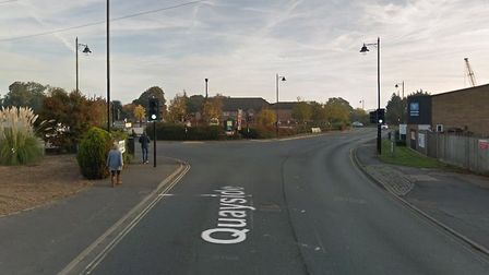 A car has crashed into a lamp post in Quayside Woodbridge Picture: GOOGLEMAPS