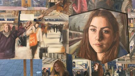 Commuters Blur by Guy Waddilove, Ipswich School, on display as part of the annual Anna Airy exhibiti