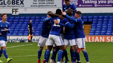 Town players celebrate with goalscorer Colin Oppong in their FA Youth Cup game with Exeter City at P
