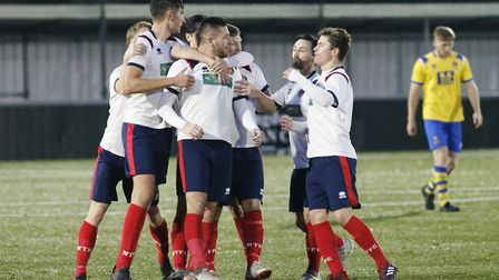 Witham celebrate Marcus Bowers' second and Witham's third goal. Photo: PAUL VOLLER