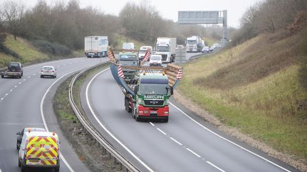 A previous abnormal load passing through the county Picture: LUCY TAYLOR
