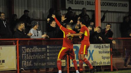 Luke Ingram celebrates his goal for Needham in front of the home fans. Photo: BEN POOLEY