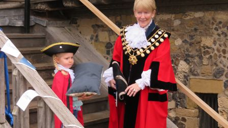 Mini mayor Evelyn helps Aldeburgh Mayor Sara Fox to open the museum Picture: ALDEBURGH MUSEUM