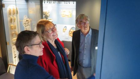 L:R: Curator Catherine Howard-Dobson, Sue Beardsmore, chairman of the National Lottery Committee for