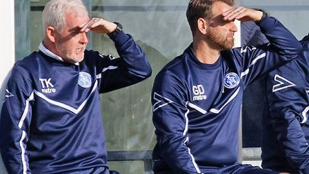Leiston's management team of coach Tony Kinsella, left, and manager Glen Driver, right. They are see