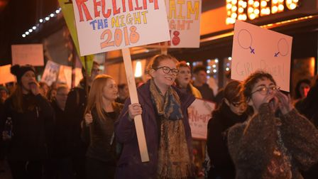 Over a hundred women took back the streets and marched through the centre of Ipswich Picture: SARAH