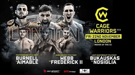 Cage Warriors 111 will be held at the Indigo at the O2 Arena on Friday. Picture: CAGE WARRIORS