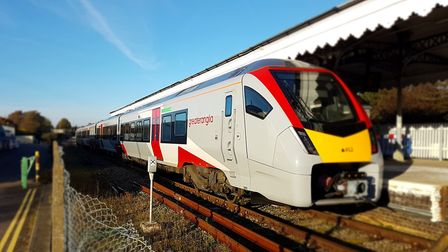 The new Stadler train at Felixstowe station. Picture: PAUL GEATER