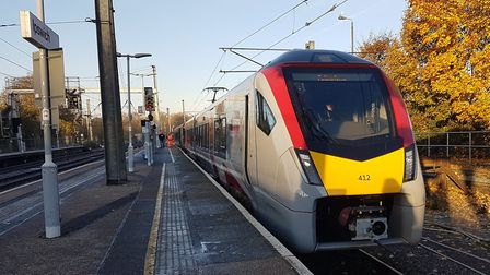 The new Stadler train waiting to leave Ipswich for Felixstowe. Picture: PAUL GEATER