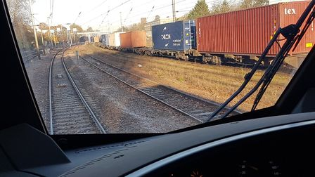 The driver's view from a new Stadler train as it leaves Ipswich bound for Felixstowe. Picture: PAUL