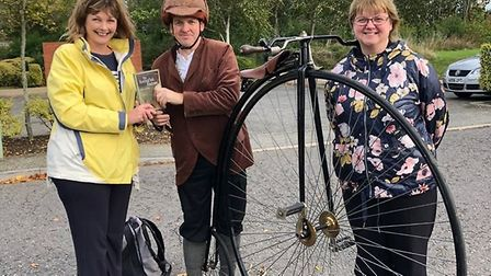 The penny farthing gets the book at Kesgrave. Picture: SUFFOLK LIBRARIES