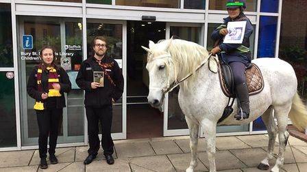 Harry Potter hands over to the unicorn at Bury St Edmunds. Picture: SUFFOLK LIBRARIES