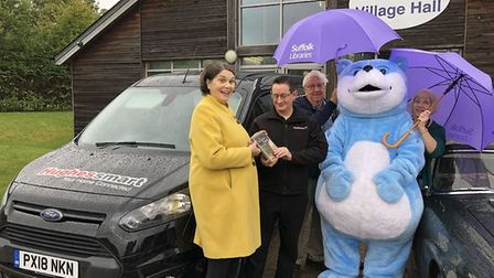 Bookstart Bear gets the soggy book at Lavenham. Picture: SUFFOLK LIBRARIES