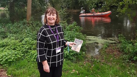 Heather ready to get on the boat at Great Cornard. Picture: SUFFOLK LIBRARIES