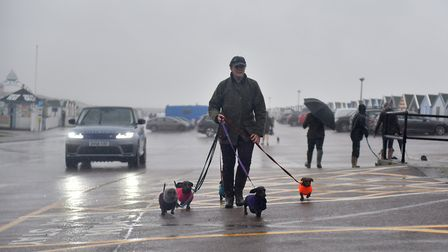 The Southwold Sausage Dog walk relocated to Southwold Pier Cafe due to the extreme weather. Picture: