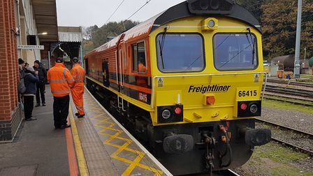 The Freightliner locomotive that will take the message across the country. Picture: PAUL GEATER