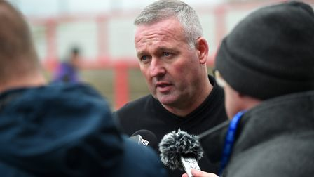 Ipswich Manager Paul Lambert is interviewed after the loss at Accrington Stanley. Picture Pagepix Lt