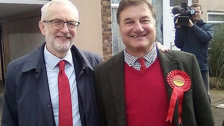 Harwich and North Essex Labour candidate Stephen Rice with Jeremy Corbyn. Picture; HARWICH AND NORTH
