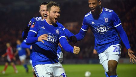Alan Judge celebrates scoring at Lincoln in Town's long-awaited FA Cup win. Picture: PAGEPIX