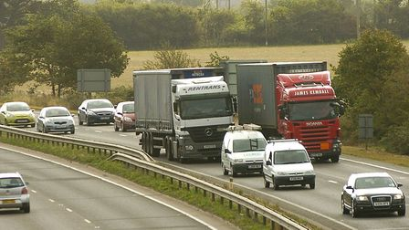 A stalled vehicle on the A14 westbound is causing tailbacks Picture: ARCHANT LIBRARY