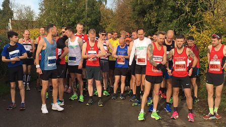 Runners assemble for the start of the Hadleigh 10 and five-mile road races. Picture: CARL MARSTON